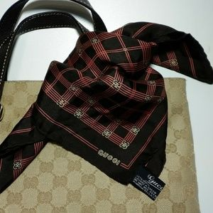 Gucci 100% Silk Square Scarf Pocket Square